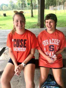 Meg & Addie sitting outside